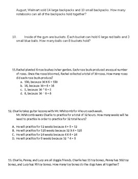 Addition, Subtraction, Multiplication, and Division Word Problems
