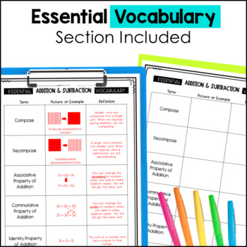 Addition & Subtraction Notebook 4th Grade TEKS by Marvel Math