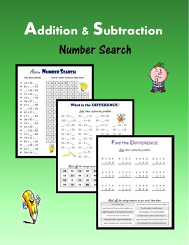 Addition & Subtraction:  Number Search