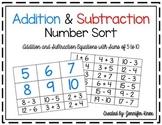 Addition & Subtraction Number Sort