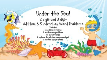 Addition & Subtraction Ocean Theme Word Problems