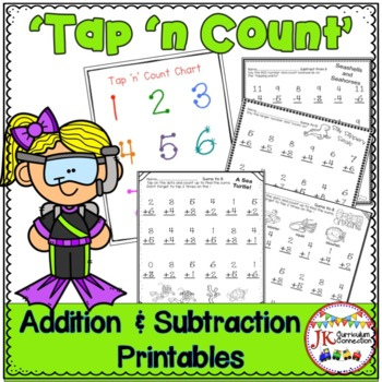 """Addition & Subtraction Ocean Themed Worksheets with """"Tap 'n Count"""" points"""