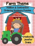 Addition & Subtraction Ordering Numbers Puzzles For Numbers 1-10! ~Farm Theme~