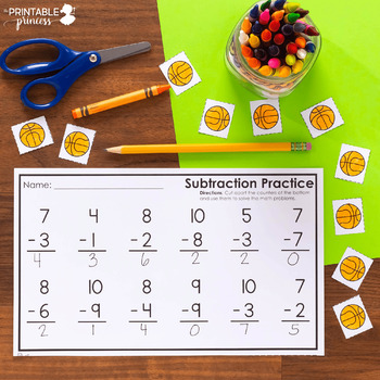 Addition & Subtraction Practice Pages {With Cut Apart Counters} Vertical Edition