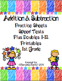 Addition & Subtraction Practice Sheets, Speed Tests, Plus Doubles