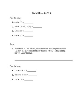 Addition/Subtraction Practice Test