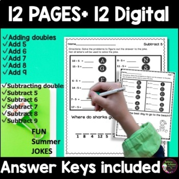 Addition & Subtraction Practice with Summer Jokes Bundle