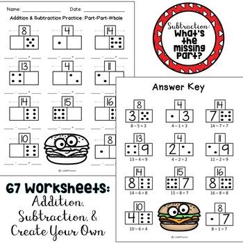 Addition & Subtraction Worksheets {Part Part Whole ...