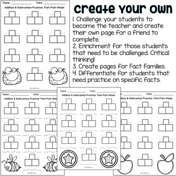 Addition & Subtraction Worksheets {Part Part Whole Strategy}