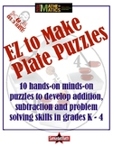 Addition, Subtraction & Problem Solving: EZ 2 Make Plate Puzzles 4 Math Centers!