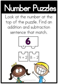 Math Center Addition Subtraction Puzzles