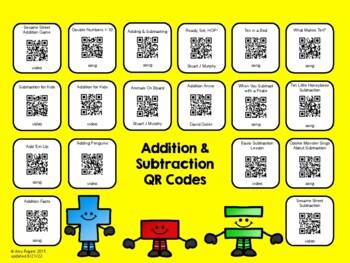Addition & Subtraction QR Codes