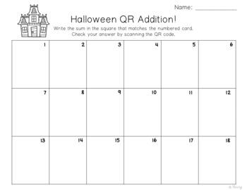 Addition & Subtraction QR Codes ~ Halloween