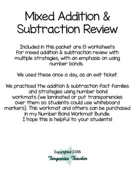 Addition & Subtraction Review Packet with Number Bonds