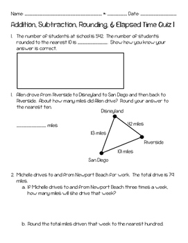 Addition, Subtraction, Rounding, & Elapsed Time 5 Quiz Bundle
