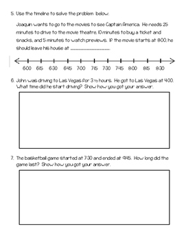 Addition, Subtraction, Rounding, & Elapsed Time Quiz 5