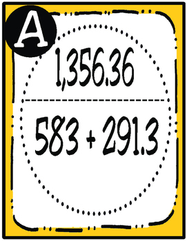 Addition/Subtraction Scavenger Hunt: Whole Numbers and Decimals (TEKS 4.4A)