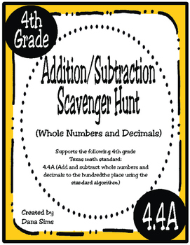 Addition/Subtraction Scavenger Hunt: Whole Numbers and Dec