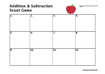 Addition & Subtraction Scoot Game