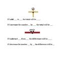 Addition & Subtraction Sentence Frames