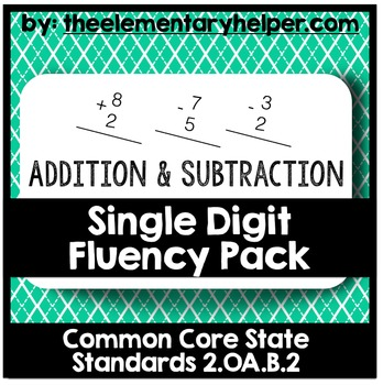 Addition & Subtraction Single Digit Fluency Pack: Second Grade