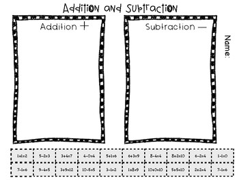 Addition/Subtraction Sort FREE (NO Prep!)