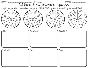 Addition & Subtraction Spin and Solve