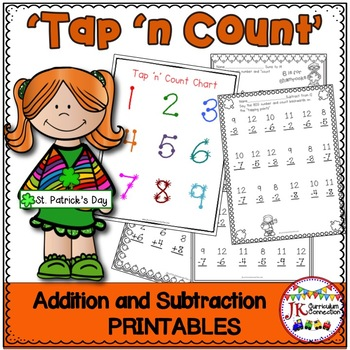 "Addition & Subtraction St. Patrick's Day Worksheets with ""Tap 'n Count"" points"