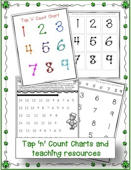 """Addition & Subtraction St. Patrick's Day Worksheets with """"Tap 'n Count"""" points"""