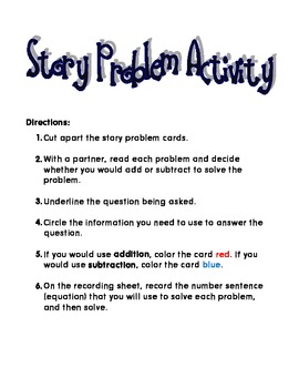 Addition & Subtraction Story Problem Sort