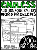 ENDLESS Addition and Subtraction Themed Word Problems (within 10)