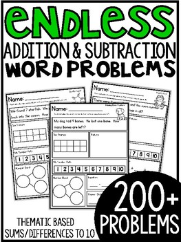 Addition and Subtraction Themed Word Problems (within 10)