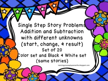 Addition & Subtraction Story Problems with Different Unknowns