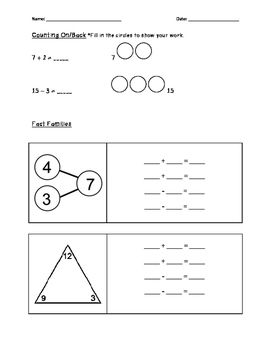 Addition & Subtraction Strategy Assessment