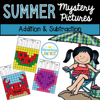 Addition & Subtraction Summer Mystery Pictures