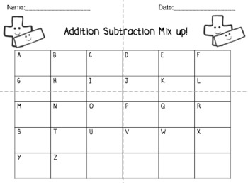 Addition and Subtraction -- Center, Task Card Activity