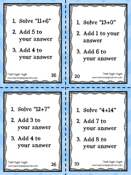 Working Memory - Addition & Subtraction Task Cards
