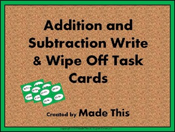 Addition & Subtraction Task Cards