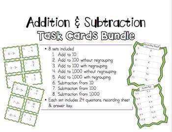 Addition & Subtraction Task Cards Bundle!