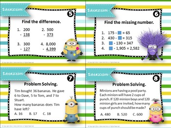 Addition & Subtraction Task Cards ~Minion Themed~ FREEBIE