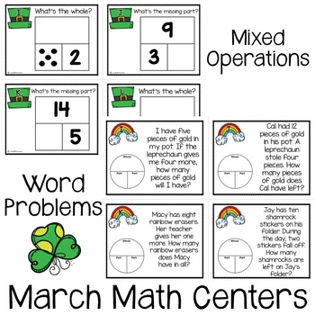 Addition & Subtraction Task Cards: Part-Part-Whole {Shamrock Themed!}