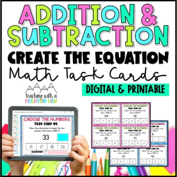 Addition & Subtraction Task Cards { Write the Equation: Pe