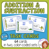 Addition and Subtraction Task Cards w/ Fun Shapes Answer Sheet!