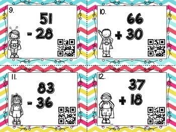 Two Digit by Two Digit Addition & Subtraction Task Cards with QR Codes