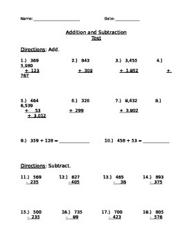 Addition & Subtraction Test (3 & 4 digit numbers)