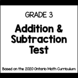 Addition & Subtraction Test (Grade 3)