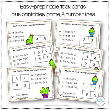 Addition & Subtraction Through 10 Math Riddle Task Cards