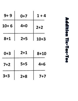Addition & Subtraction Tic Tac Toe