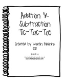 Addition & Subtraction Tic-Tac-Toe Activity
