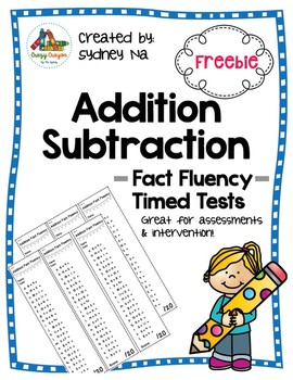 Addition Subtraction Timed Fluency Tests (Within 1-20)